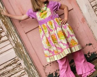 Girls Double Ruffle Rose Linen Pants or Capris Sizes 12MO - 8