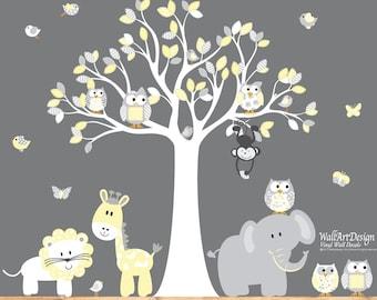 Vinyl Wall Decal  Nursery Wall Decal Vinyl Wall Decal Yellow chevron pattern Owl Tree Set Nursery Boy Baby