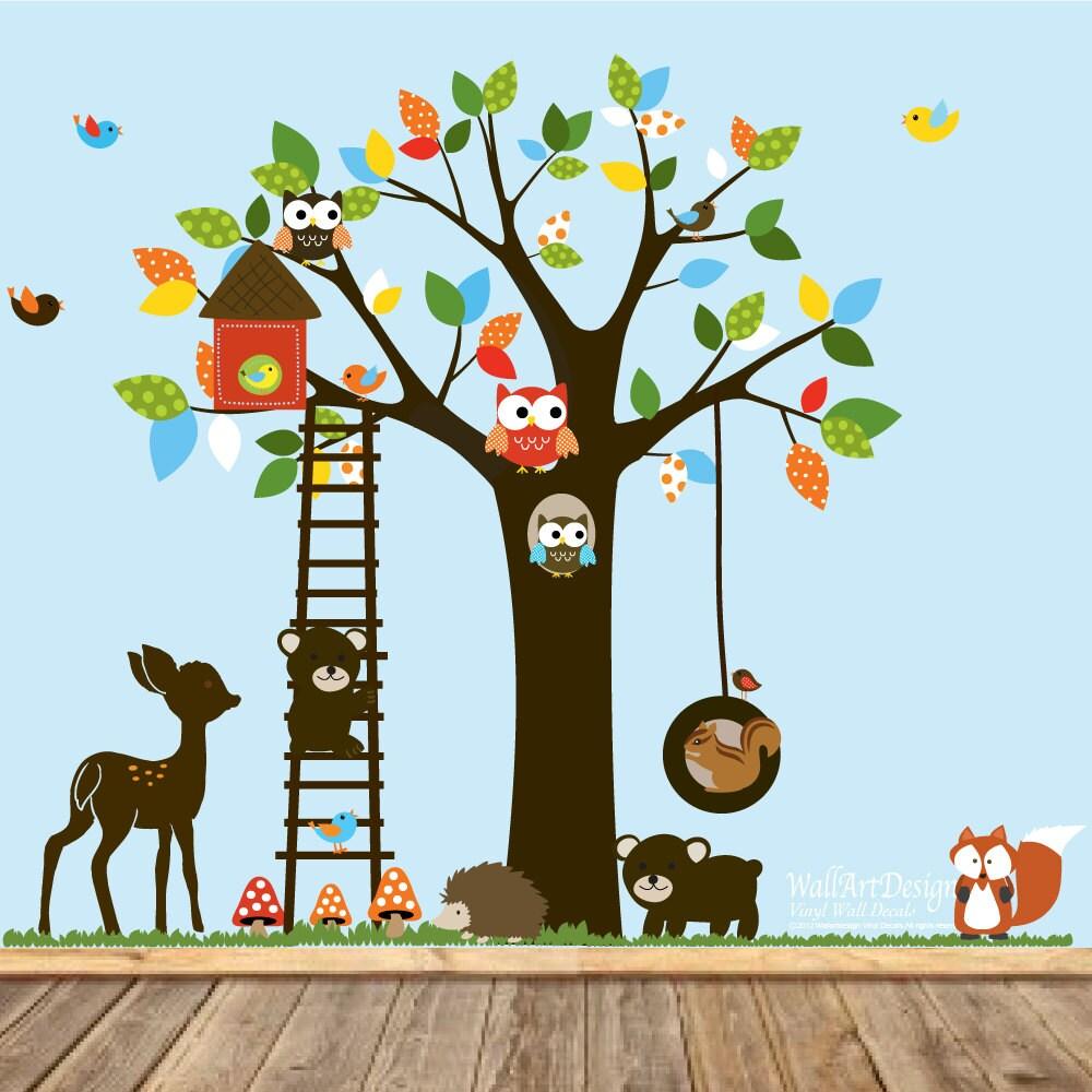 Vinyl Wall Decal Stickers Swing Tree Set