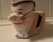 vintage comical ceramic character pot, planter or container