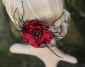 Hair Flower with Feathers Glass Beads Swarovski, Flower Hair Clip and Brooch