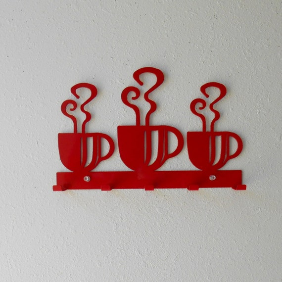 Coffee  / Metal Wall Hanging  / Oven Mitt rack / Bright Red / Kitchen decor / metal wall decor/ Dish Towels