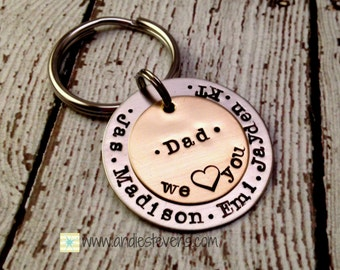 Customized Keychain - Personalized Hand Stamped Keychain - Grandpa Daddy Unisex gift - Children's Names - Christmas gift