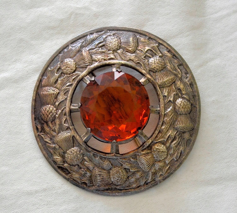 Large Vintage Scottish Bagpiper Kilt Pin Sash Pin Scottish