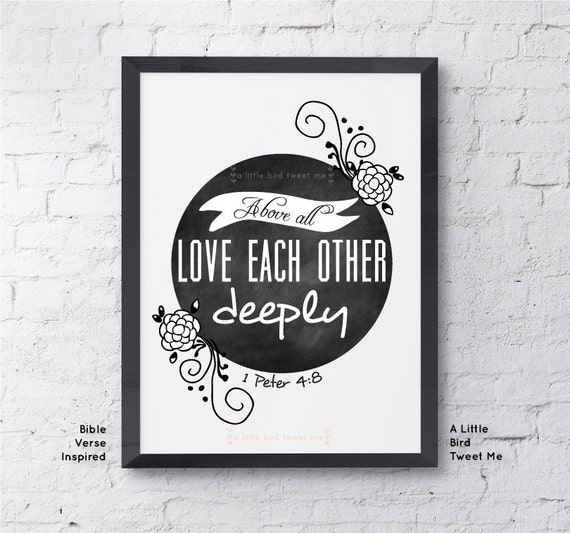 Items Similar To Christian Chalkboard Print. 1 Peter 4:8