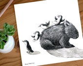 A Very Tired Wombat and Four Playful Penguins - ECO Limited Edition Archival Print