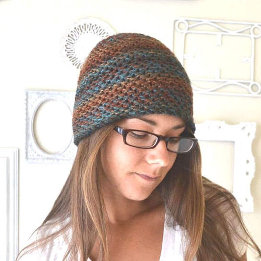 Waffle Stitch Knit Hat Pattern : Knit Beanie Hat Pattern Skull Cap Mens Womens Waffle