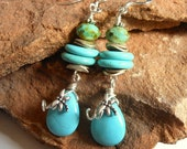 RESERVED FOR ROSIE Turquoise Teardrop Earrings,Dragonfly,Wirewrapped,Turquoise Jewelry