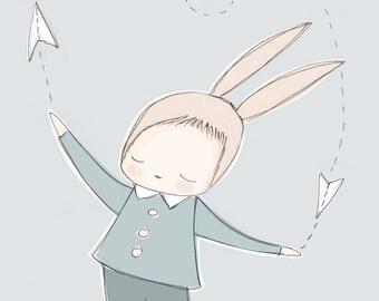Baby Boy Nursery Art Print - Baby Rabbit Flying Paper Aeroplanes, Blue Background, A3