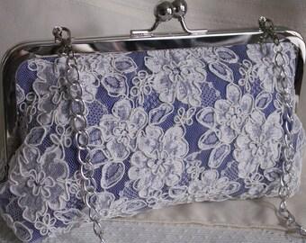 Handmade silk, Alencon lace clutch handbag. Blue, ivory, lavender. EVENING SKY by Lella Rae on Etsy