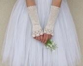NOSTALGIA Long Crochet Fingerless Lace Bridal Gloves in antique cream