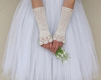 Ivory Bridal Gloves, Victorian Gloves, Bridal Lace Gloves, Ivory Wedding Gloves, Fingerless Gloves, Crochet Gloves, Lace Gloves, NOSTALGIA