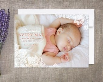 Birth Announcement Girl, Lace