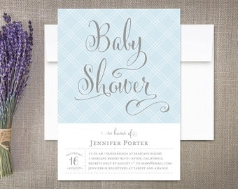 Baby Shower Invitation Boy Modern Calligraphy