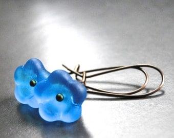 SALE Earrings, Jewelry - Dangle Flower Earrings, Gift for Her, Accessories, Spring Dangle Glass Earrings