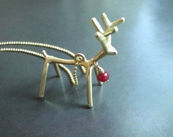 Holiday Jewelry Gemstone Statement Ruby Necklace, 14k Gold Holiday Jewelry, Jewelry, Necklace, 14k Gold Filled Chain, Reindeer Necklace,