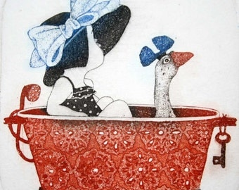 Etching / limited edition original etching (printmaking / graphic art) / original print / original art / goose etching - 'Girl in a Bath'