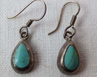TURQUOISE STERLING EARRINGS  Handcrafted  with Shepard Hooks