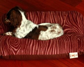 Brown Wood Grain Woodland Plush Fleece Bunbed Bun Bed Dachshund Dog Bed, Small Breed Dog Bed