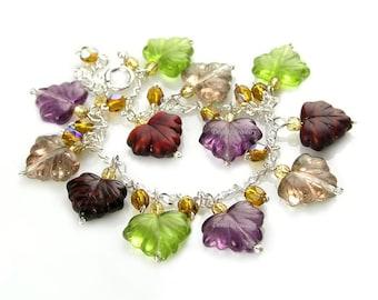 Maple Leaf Charm Bracelet Sterling Silver Dangle Bracelet Colorful Autumn Leaves Bracelet Amethyst Purple Spring Green Bracelet