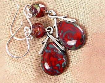 Bright Red Bohemian Glass Earrings Sterling Silver Hook Earrings Artisan Glass Red Dangle Teardrop Earrings Autumn Red Stone Earrings