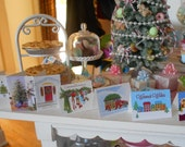 10 Christmas Holiday Greeting Cards - Choose 1/12 or 1:6 Scale Miniature