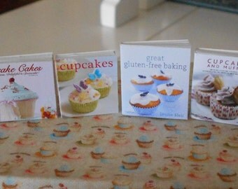 BAKING COOKBOOKS - Cupcakes Muffins Cakes - Dollhouse Miniature 1:12 Scale