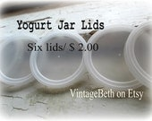Yogurt Jar Lids-Six Small Plastic Lids for Glass Yogurt Jars-European Yogurt Jar Lids-Tight Fitting Snap-On Lids