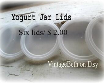 Yogurt Jar Lids-Six Small Plastic Lids for Glass Yogurt Jars-European Yogurt Jar Lids-Tight Fitting Snap-On Lids