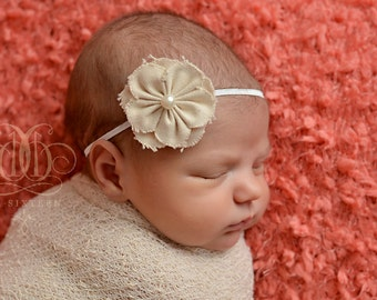 Cream Muslin Flower Headband Newborn Photography Prop