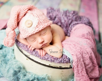 Pink Burlap Baby Newborn Knit Hat Photography Prop