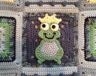 PATTERN for Baby Boy Frog Stroller Carseat Blanket Crochet