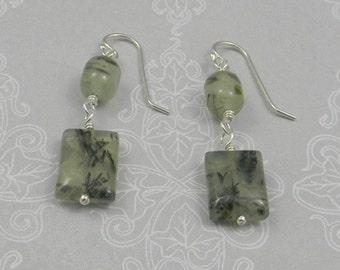 Green adventurine beads wire wrapped dangle earrings.