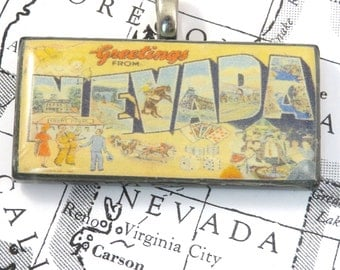 Greetings from NEVADA Vintage Large Letter Postcard Pendant Necklace