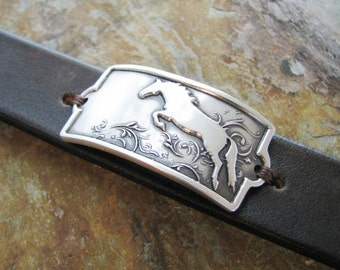 Jump, Fine Silver Horse Link with Leather Cuff Bracelet, Original and Exclusive Design by SilverWishes