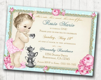 Tea Party 1st Birthday Invitation for Girl - Shabby Chic Birthday - Floral - Antique - Vintage Roses - DIY Printable