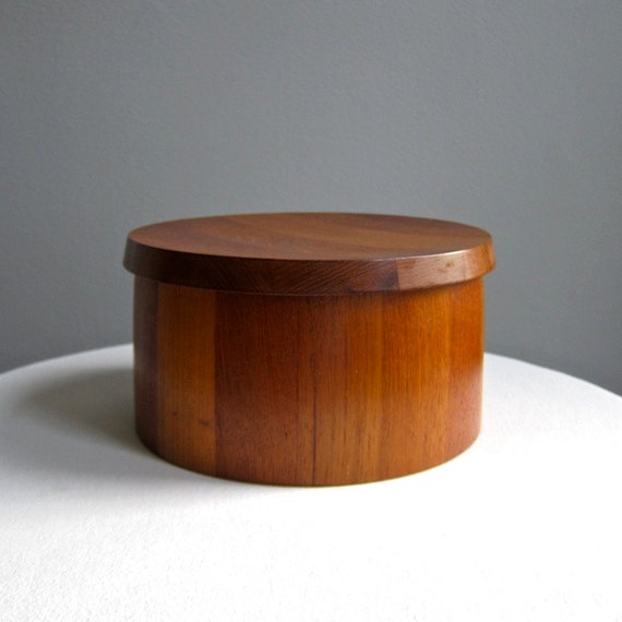 Vintage Dansk Staved Teak Ice Bucket by Jens Quistgaard IHQ 1960s Flat Lid Wood Box