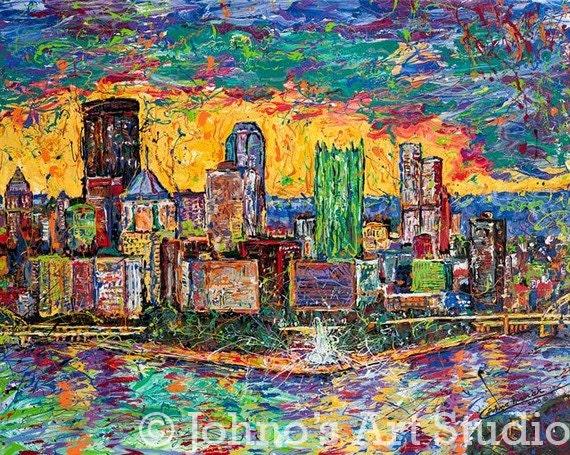 Pittsburgh Skyline Art,  The Point,  Sunset painting, Print by Johno Prascak