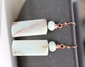 Amazonite Earrings with matching Amazonite Rondelles and Copper Earwires