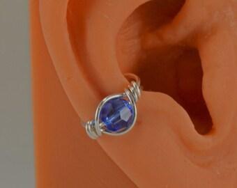 Sapphire Or Birthstone Choices Sterling Handmade Ear Cuff Swarovski Crystals