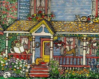 """Aceo""""House Of Cats"""",Artists Trading Card,mini print of original watercolor painting,Victorian Cottage,Cats,Kittens,Whimsical,Fantasy art"""