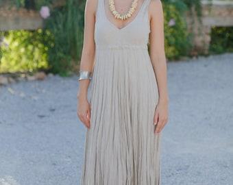 Long Natural Linen Dress / Maxi / Stone Sand / Summer Dress / Pure Linen / Crinkled Linen / Boho Beach Dress / Hand Made