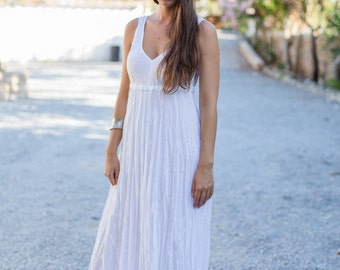 Long White Linen Dress / Maxi / High Waistline / Summer Dress / Pure Linen / Beach Wedding  Dress / Hand Made / Linen Wedding Dress