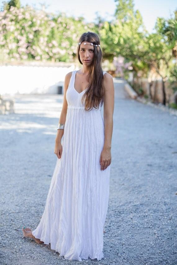 Long White Linen Dress / Maxi / High Waistline / Summer Dress / Pure Linen / Beach Wedding  Dress / Hand Made / Linen Wedding Dress