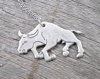 SALE raging bull necklace