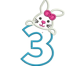 Instant Download Easter Bunny Applique Machine Embroidery Design