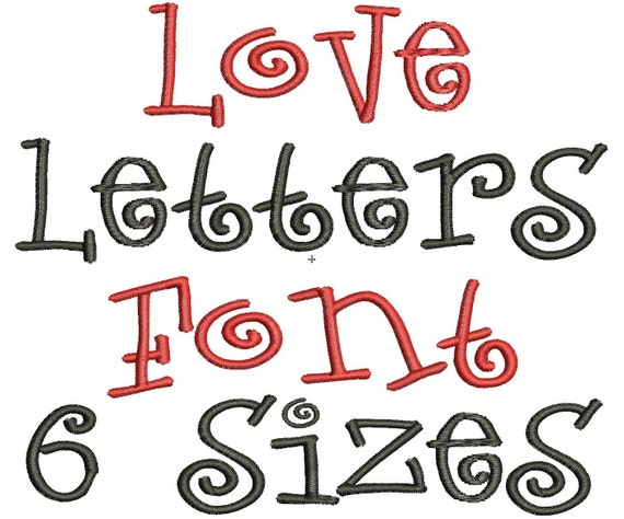 Love Letters Embroidery Font 6 Sizes By Mysewcuteboutique