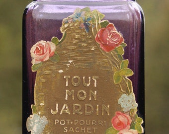 Large antique Purple Glass jar RICHARD HUDNUT Pot-Pourri SACHET all-original