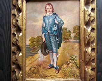Beautiful Vintage Gold Florentine Wood Frame Art Boy Portrait