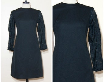 60s Black Lace Sleeve Shift Dress Medium Large Mod Retro Goth Party Fancy Formal